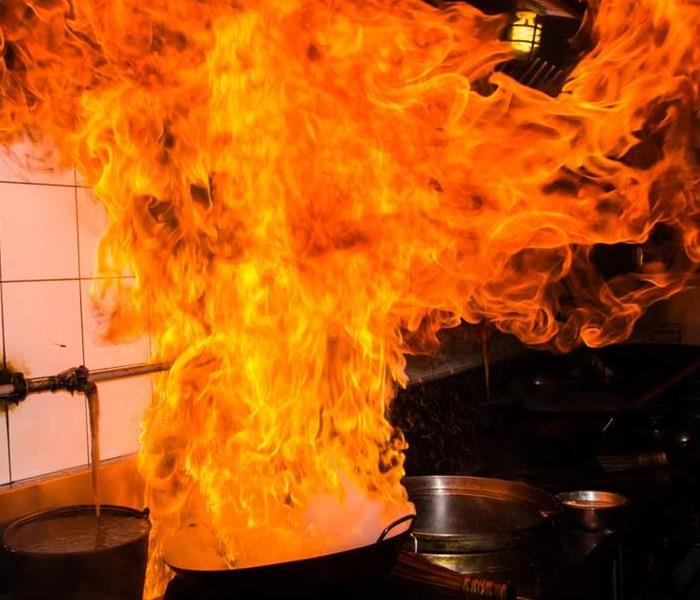 Cooking pan with flames.