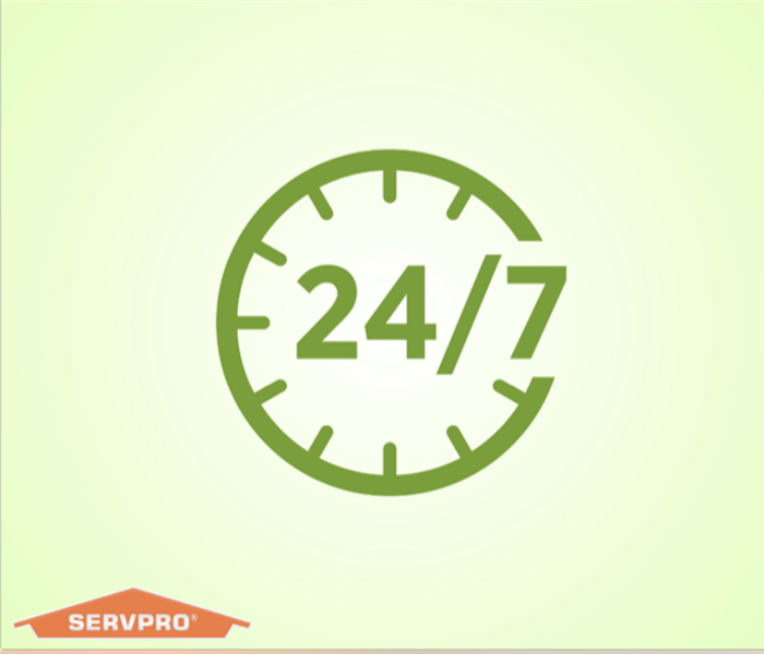 Green background with 24/7 in the middle and the SERVPRO logo in the bottom left corner.